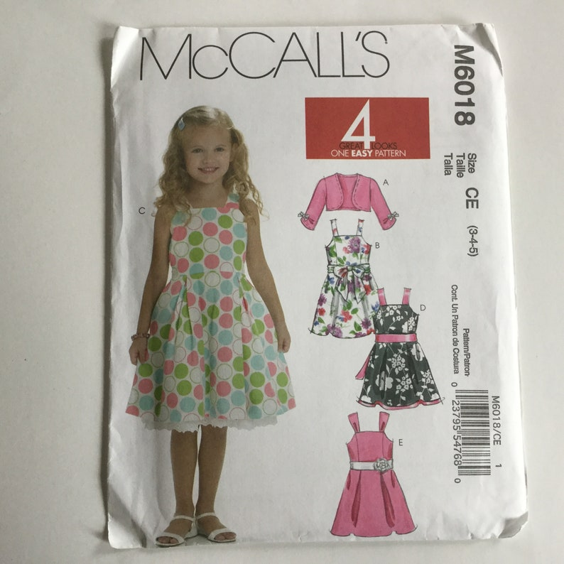 McCall's 6018 Sewing Patterns Uncut Girl Easy Shrug, Lined Dresses, Sash  Sewing Patterns, Size CE 3-4-5, Girls Party Birthday Dresses
