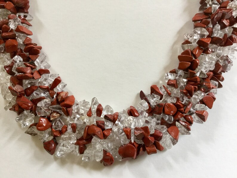 Gemstone Jasper Vintage Costume Fashion Necklace Vintage Red Jasper /& Clear Quartz Chip Gemstone 18\u201d Bib Necklace Quartz Necklace Gift