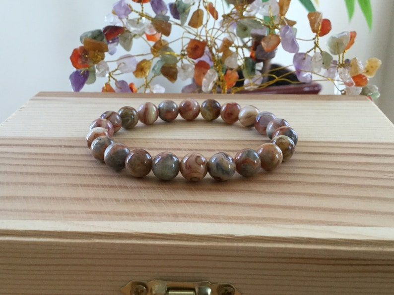 Healing Handmade Natural Red Crazy Lace Agate Gemstone 7\u201d Stretch Bracelet Protection Repel Negative Energy Brown Agate Braclete