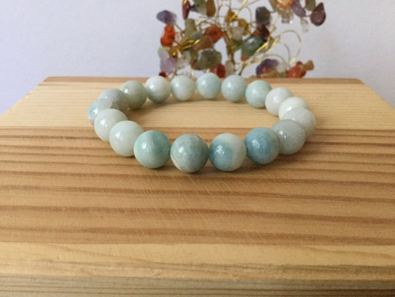 Stress Healing Bracelet Aquamarine Handmade Bracelet Anxiety Meditation Natural Blue Aquamarine Gemstone Stretch 7\u201d Chunky Bracelet