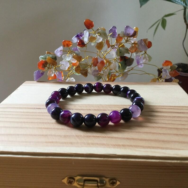Handmade Gemstone Purple Striped Agate Bead Bracelet,Strength Protection 7.5\u201d Bracelet,Stretch Gemstone Jewelry,Colorful Striped Agate Beads