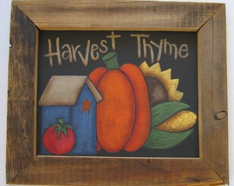 Tole Painting Pattern, Harvest Thyme, Fall or Autumn Sign, Featuring Birdhouse, Orange Pumpkin, Sunflower, and Tomato, Instructional Pattern