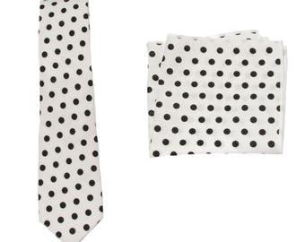 2559e2f92242 White Black Polka Dots Slim Necktie & Matching 8