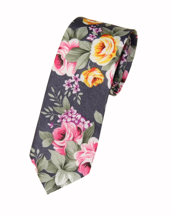 New Men/'s Off White Blue Wildflower Floral Slim Tie and Flower Lapel Stick Pin