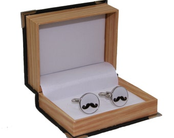 Men's Mustache Cufflinks and Gift Box