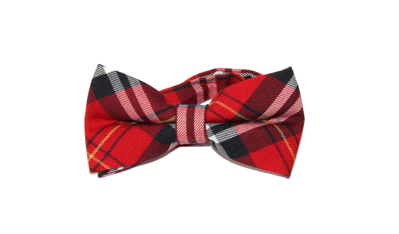Mens Pink Black White Plaid Pre-Tied Adjustable Bow Tie