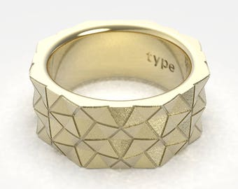 Geometric Hexagon Band Ring in Gold  or Platinum.