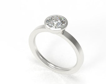 White Gold Solitaire Bezel Engagement Ring 14k 585