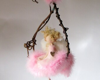 Art doll Needle felted Waldorf inspired Magic fairy Mobile On a twig Fairy doll OOAK Fantasy doll