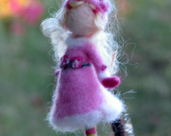 Romantic gift Needle felted ornament Christmas ornament Waldorf inspired Winter ornament Romantic gift Ice skating