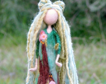 Needle felted fairy Art doll Fantasy doll Fairy Waldorf inspired doll Woolen Tree guardian doll Home decor