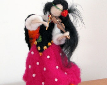 Art doll Gypsy girl doll Waldorf inspired Needle felted gypsy Home decoration