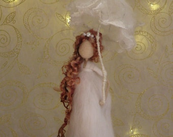 Needle felted art doll Fairy with umbrella Waldorf inspired
