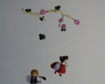 waldorf inspired needle felted mobile Firefly and ladybird
