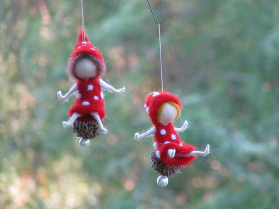 Needle Felted Christmas Fairy Mushroom Ornament Waldorf Etsy