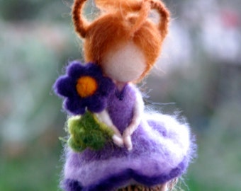 Spring ornament, Fairy ornament, Easter decoration, Needle felted fairy, Waldorf inspired fairy, Felted ornament, Nursery decoration