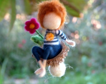 Spring ornament, Fairy ornament, Easter decoration, Needle felted boy, Waldorf inspired fairy, Felted ornament, Nursery decoration