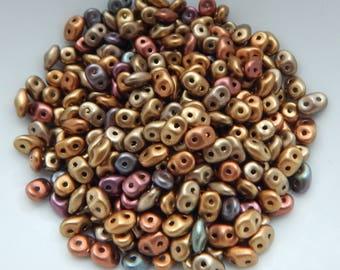 7 SUPERDUO Perles x10 grammes Violet Iris Gold