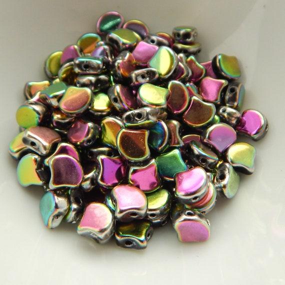 20 7.5 x 7.5 mm Czech Glass Matubo Ginkgo Leaf Beads Crystal AB