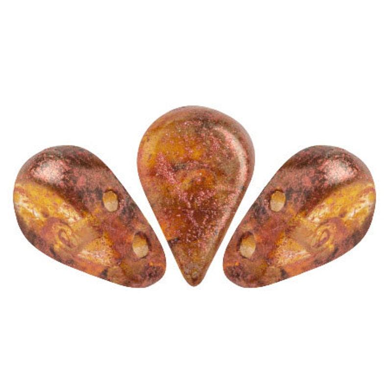 30 Beads 5x8mm Amos\u00ae par Puca\u00ae Two Hole Drop Shape Crystal Copper Spotted