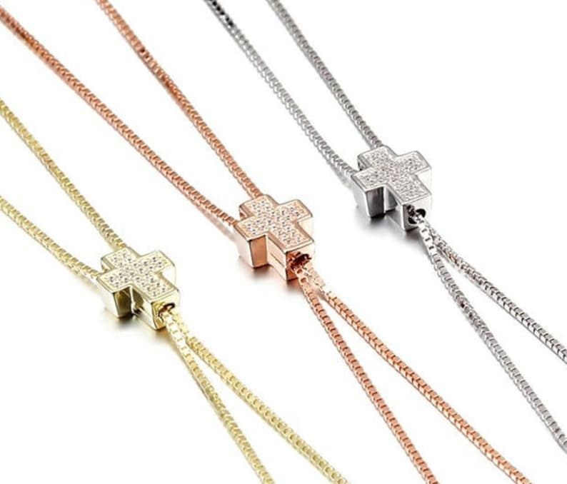 Stainless Steel Y-Necklace Dangling CZ Cross Pendant Chain Gold Silver Rose gold