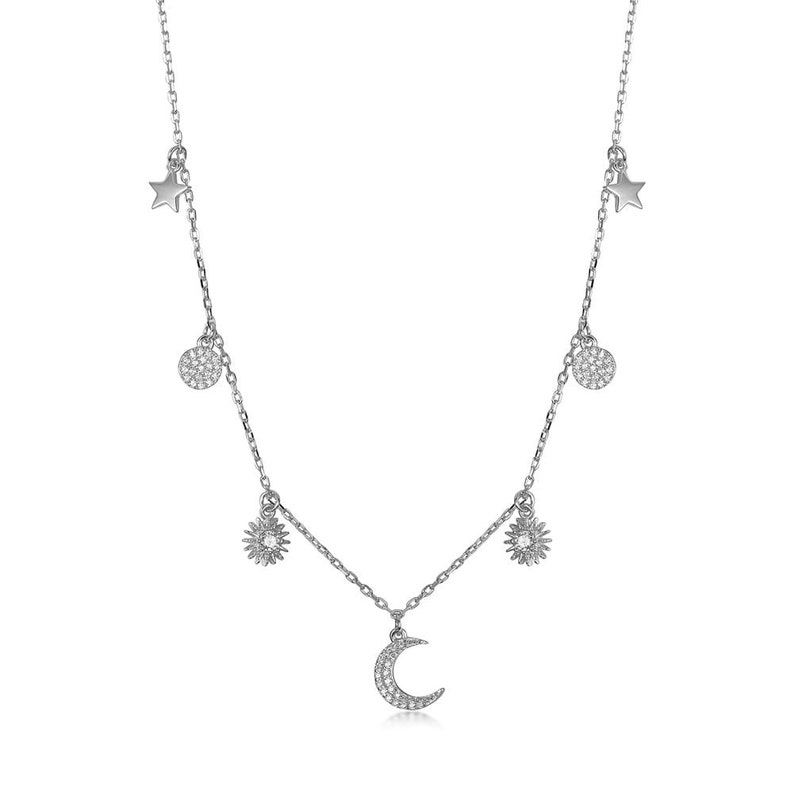 Silver Rose Gold and Black Stainless Steel CZ Chain Dangling Moon and Stars Charm necklace Gold