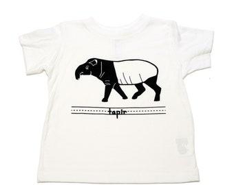 Tapir Toddler Animal T-Shirt / Children's Animal Shirt/ Unisex Kid's Wildlife Tee / Grey & Black/ Coffee Break Clothing