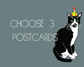 Set of 3 Postcards - Cat Postcards / Funny Postcard Set/ 4x6 Girl Art Print Hairy Legs GOT / Art Set
