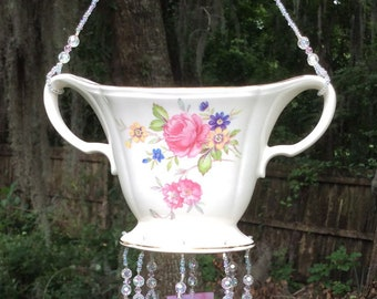 Vintage Floral Sugar Bowl Upcycled into a Windchime with Pink Streaky Stained Glass Chimes, Flowers, Green Leaves, Antique