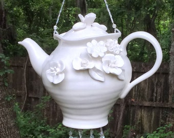 White Floral Teapot Upcycled into a Windchime, with Streaky White Stained Glass Chimes