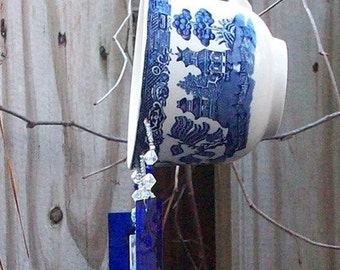 Vintage Blue Willow Tea Cup Windchime