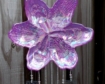 Purple Glass Hibiscus, Highly Iridescent, Upcycled into a Windchime with Iridized Stained Glass Chimes
