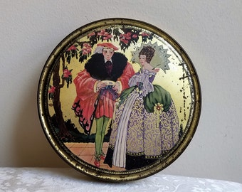 Vintage Masquerade Costume Ball Royal Couple Tin By Canco & Queen Anne Candy Co., Art Deco Marie Antoinette Style, Collectible Advertising