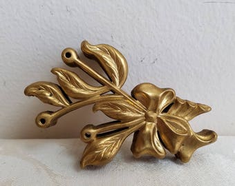 Vintage Stamped Brass Applique Ribbon Leaves Furniture Trim Findings Set of 9 With Beautiful Patina