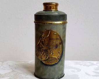 Antique Mareschaneil Rose Talcum Powder Tin by Elmo Inc., Green Gold Gilt Metal Shaker, Art Nouveau Woman Advertising RARE