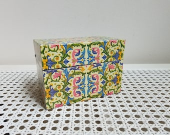 Vintage Ohio Art Metal Recipe File Box Florentine Pink Green Blue Gold Yellow Fleur de Lis Flourish FABULOUS