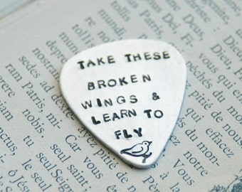 Hand Stamped Sterling Guitar Pick - Lyrics to Blackbird - By Inspired Jewelry Designs