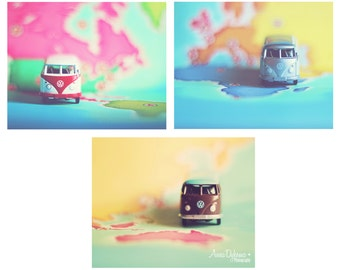 Nursery Wall Art - VW Bus Collection - photo collection, gallery, pastel, nursery decor, volkswagon, bus, vintage, pink, blue, green, yellow