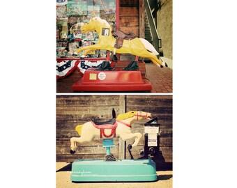Vintage Pony Ride Photo Print Set - rustic kids decor - yellow red turquoise horse retro cowboy arcade ride carnival set of 2