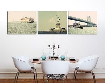 New York City Print Collection - New York On The Water - nautical travel decor, bridge, ferry, liberty, aqua, grey, brown, blush, boat