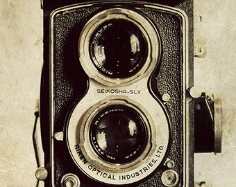 Rustic Wall Art - Vintage Ricohmatic - vintage camera photography, monochromatic office decor, industrial wall decor, historical art