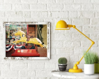 Retro Kids Room Decor - Yellow Ride - vintage equestrian pony horse cowboy texas rustic yellow red