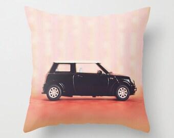 Throw Pillow - Mini Cooper - pink salmon black