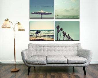 So Cal Print Collection - Set of 4, teal aqua blue seaside beach boho California ocean nautical beach house decor canvas print