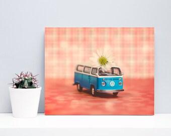 Modern Kids Wall Art  - Daisy the Blue VW Bus - nursery decor still life photography orange pink white blue