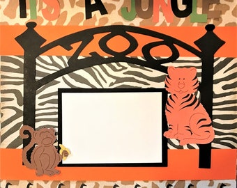 "2 Page ""Zoo"" Scrapbook Kit -  12"" x 12"" Ready To Assemble Scrapbook Kit"