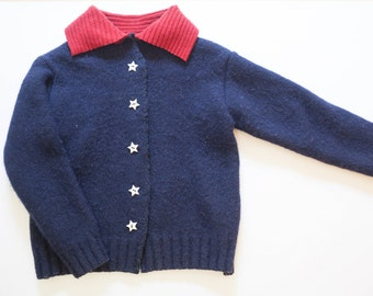 Wool Child's Sweater with American Flag on Back Medium to Large