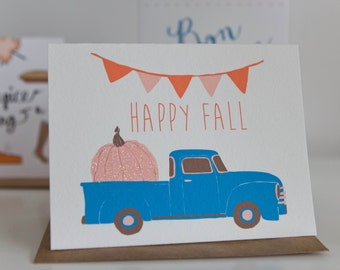 Happy Fall Truck Folding Card With Envelope