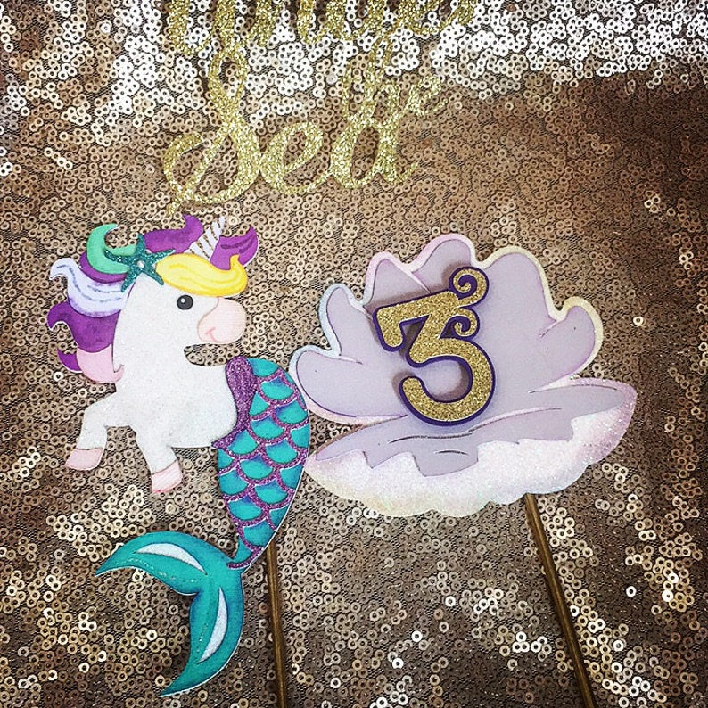 Unicorn Mermaid Birthday Cake Topper Gold Glitter