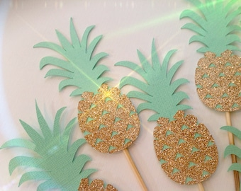 Pineapple Cupcake Toppers - Set of 12. Pineapple Toppers. Luau party Toppers